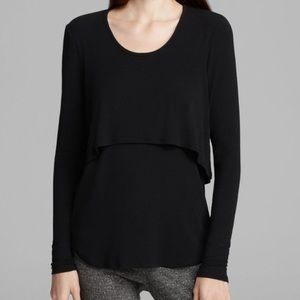 Theory Chevak Parklyn Layered Black Top Size Small